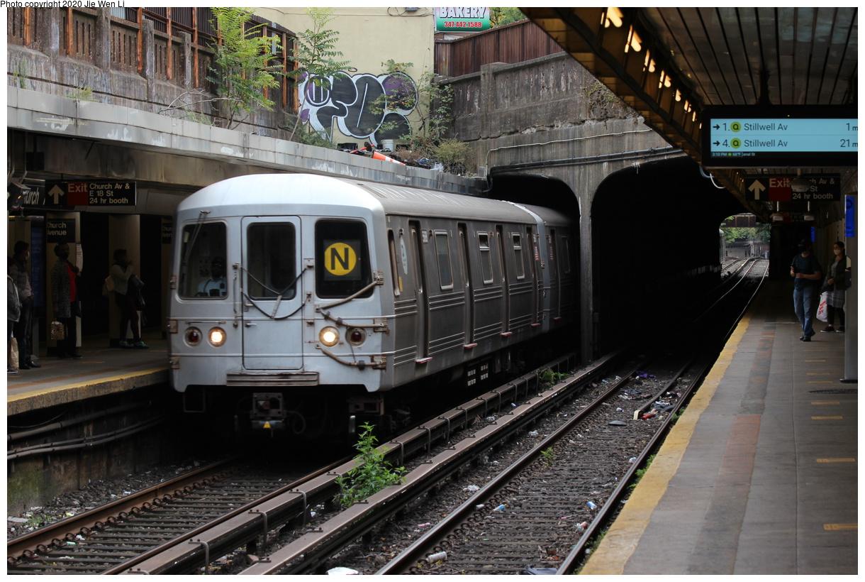 (429k, 1220x820)<br><b>Country:</b> United States<br><b>City:</b> New York<br><b>System:</b> New York City Transit<br><b>Line:</b> BMT Brighton Line<br><b>Location:</b> Church Avenue<br><b>Route:</b> N<br><b>Car:</b> R-46 (Pullman-Standard, 1974-75) 5688 <br><b>Photo by:</b> Jie Wen Li<br><b>Date:</b> 10/10/2020<br><b>Notes:</b> Weekend reroute.<br><b>Viewed (this week/total):</b> 1 / 62
