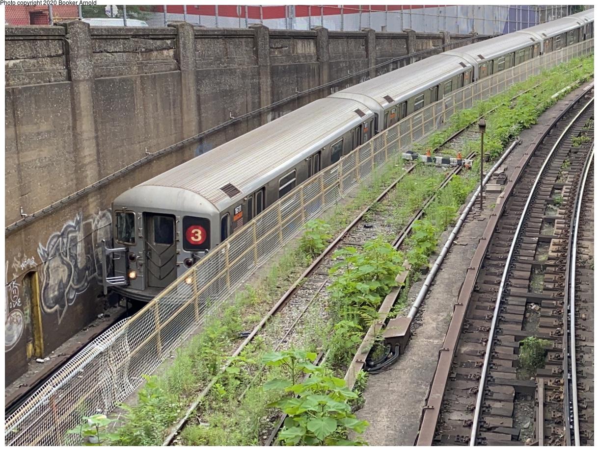 (561k, 1220x920)<br><b>Country:</b> United States<br><b>City:</b> New York<br><b>System:</b> New York City Transit<br><b>Line:</b> IRT Brooklyn Line<br><b>Location:</b> Utica Portal-New Lots Line<br><b>Route:</b> 3<br><b>Car:</b> R-62 (Kawasaki, 1983-1985) 1611 <br><b>Photo by:</b> Booker Arnold<br><b>Date:</b> 7/15/2020<br><b>Viewed (this week/total):</b> 2 / 433