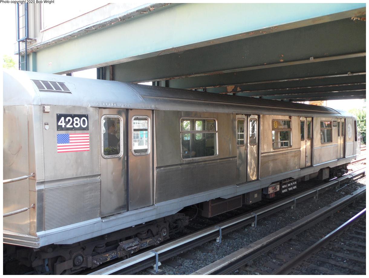 (425k, 1220x920)<br><b>Country:</b> United States<br><b>City:</b> New York<br><b>System:</b> New York City Transit<br><b>Line:</b> BMT Brighton Line<br><b>Location:</b> Brighton Beach<br><b>Route:</b> Museum Train Service<br><b>Car:</b> R-40 (St. Louis, 1968) 4280 <br><b>Photo by:</b> Bob Wright<br><b>Date:</b> 6/25/2016<br><b>Viewed (this week/total):</b> 2 / 824
