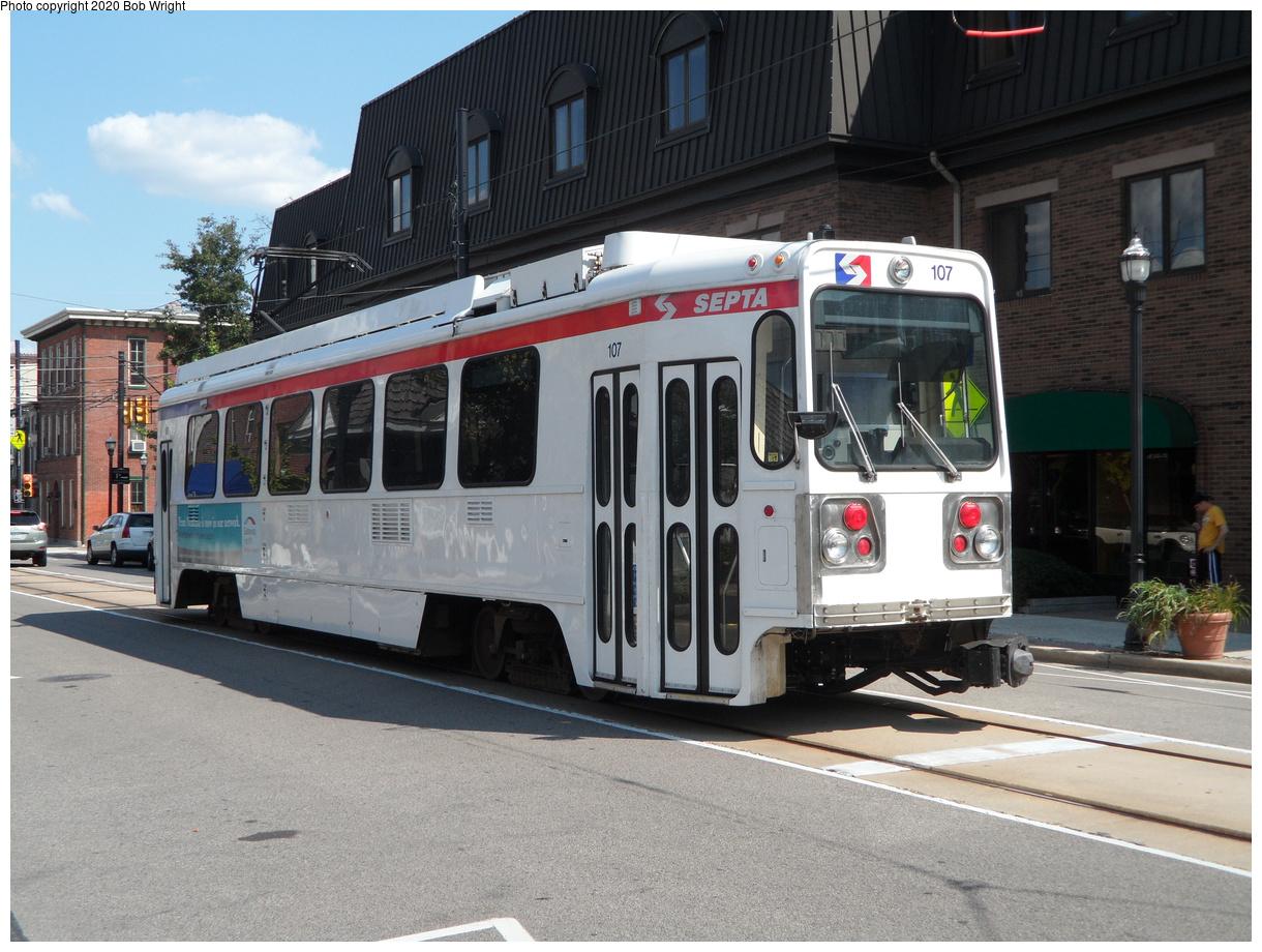 (457k, 1220x920)<br><b>Country:</b> United States<br><b>City:</b> Philadelphia, PA<br><b>System:</b> SEPTA (or Predecessor)<br><b>Line:</b> Rt. 101-Media<br><b>Location:</b> Orange Street/State Street<br><b>Car:</b> SEPTA K Double-ended (Kawasaki, 1981) 107 <br><b>Photo by:</b> Bob Wright<br><b>Date:</b> 8/9/2014<br><b>Viewed (this week/total):</b> 8 / 29