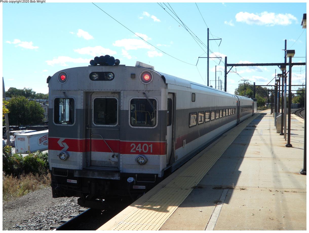 (424k, 1220x920)<br><b>Country:</b> United States<br><b>City:</b> Philadelphia, PA<br><b>System:</b> SEPTA Regional Rail<br><b>Line:</b> SEPTA R1<br><b>Location:</b> Fern Rock TC<br><b>Car:</b> SEPTA Push-Pull Type I (Bombardier, 1987) 2401 <br><b>Photo by:</b> Bob Wright<br><b>Date:</b> 10/17/2015<br><b>Viewed (this week/total):</b> 6 / 23