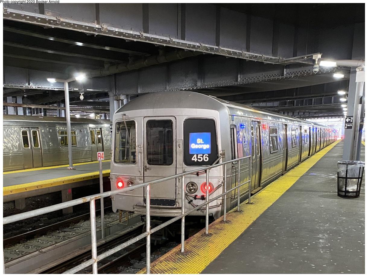 (464k, 1220x920)<br><b>Country:</b> United States<br><b>City:</b> New York<br><b>System:</b> New York City Transit<br><b>Line:</b> SIRT<br><b>Location:</b> St. George<br><b>Car:</b> R-44 SIRT (St. Louis, 1971-1973) 456 <br><b>Photo by:</b> Booker Arnold<br><b>Date:</b> 3/14/2020<br><b>Viewed (this week/total):</b> 4 / 1044