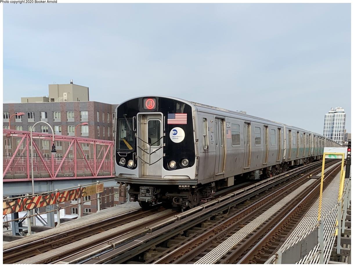 (357k, 1220x920)<br><b>Country:</b> United States<br><b>City:</b> New York<br><b>System:</b> New York City Transit<br><b>Line:</b> BMT Nassau Street-Jamaica Line<br><b>Location:</b> Williamsburg Bridge<br><b>Route:</b> J<br><b>Car:</b> R-179 (Bombardier, 2016-2019) 3054 <br><b>Photo by:</b> Booker Arnold<br><b>Date:</b> 4/25/2020<br><b>Viewed (this week/total):</b> 1 / 822