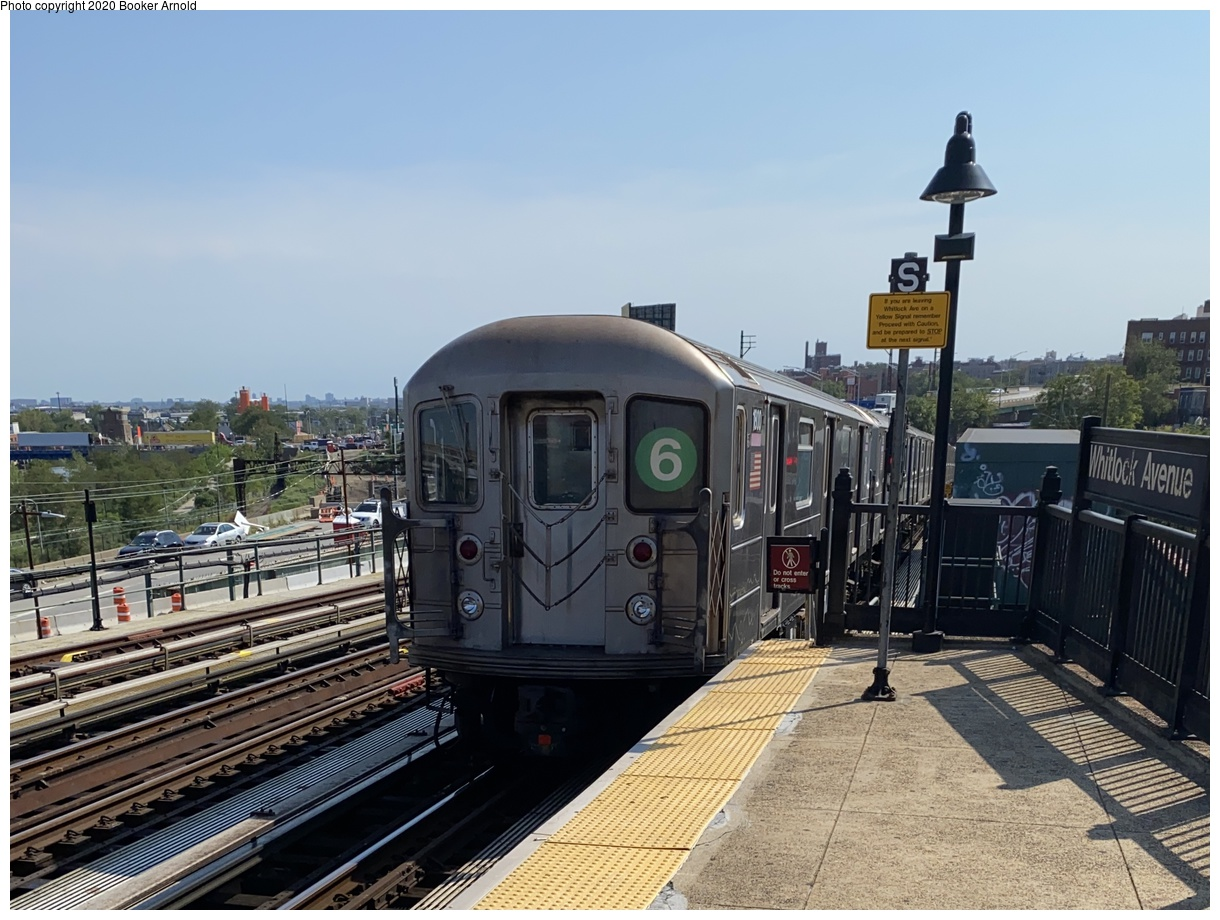 (362k, 1220x920)<br><b>Country:</b> United States<br><b>City:</b> New York<br><b>System:</b> New York City Transit<br><b>Line:</b> IRT Pelham Line<br><b>Location:</b> Whitlock Avenue<br><b>Route:</b> 6<br><b>Car:</b> R-62A (Bombardier, 1984-1987) 1800 <br><b>Photo by:</b> Booker Arnold<br><b>Date:</b> 9/8/2020<br><b>Viewed (this week/total):</b> 117 / 396