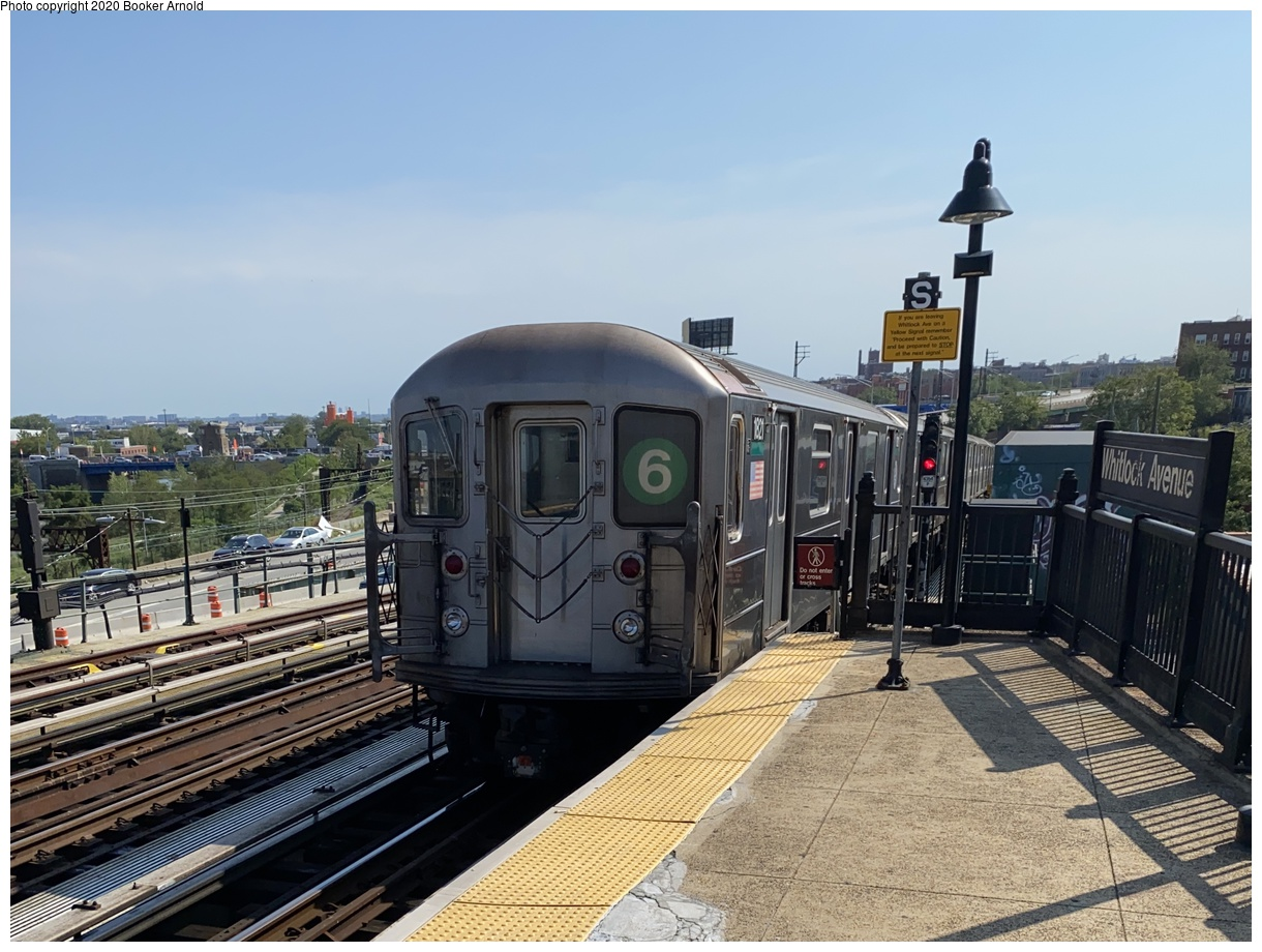 (371k, 1220x920)<br><b>Country:</b> United States<br><b>City:</b> New York<br><b>System:</b> New York City Transit<br><b>Line:</b> IRT Pelham Line<br><b>Location:</b> Whitlock Avenue<br><b>Route:</b> 6<br><b>Car:</b> R-62A (Bombardier, 1984-1987) 1821 <br><b>Photo by:</b> Booker Arnold<br><b>Date:</b> 9/8/2020<br><b>Viewed (this week/total):</b> 5 / 1015