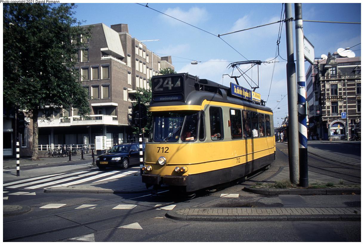 (521k, 1220x820)<br><b>Country:</b> The Netherlands<br><b>City:</b> Amsterdam<br><b>System:</b> GVB (Gemeente Vervoerbedrijf)<br><b>Location:</b> Vijzelgracht<br><b>Route:</b> 24<br><b>Car:</b> Type 7G 712 <br><b>Photo by:</b> David Pirmann<br><b>Date:</b> 8/26/1999<br><b>Viewed (this week/total):</b> 11 / 15
