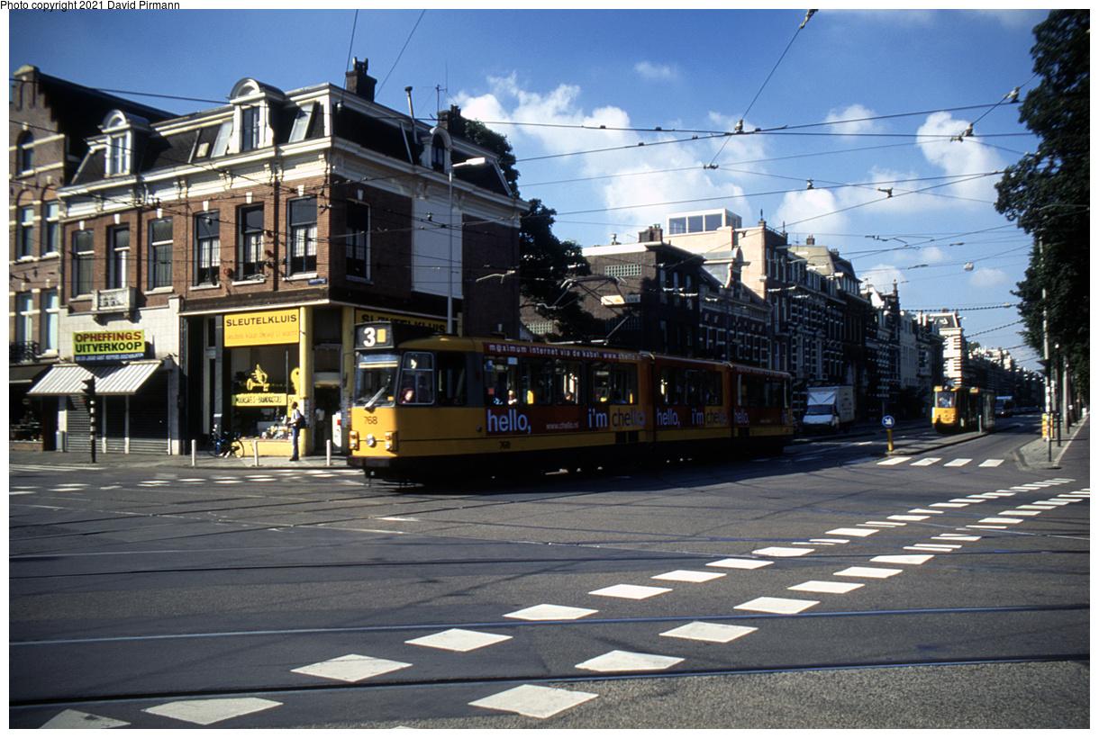 (512k, 1220x820)<br><b>Country:</b> The Netherlands<br><b>City:</b> Amsterdam<br><b>System:</b> GVB (Gemeente Vervoerbedrijf)<br><b>Location:</b> Linnaeusstraat<br><b>Route:</b> 3<br><b>Car:</b> Type 8G 768 <br><b>Photo by:</b> David Pirmann<br><b>Date:</b> 8/28/1999<br><b>Viewed (this week/total):</b> 5 / 9