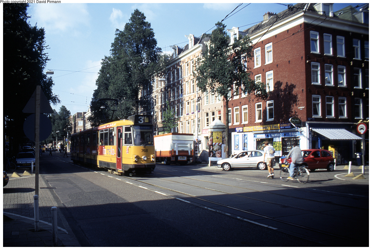 (520k, 1220x820)<br><b>Country:</b> The Netherlands<br><b>City:</b> Amsterdam<br><b>System:</b> GVB (Gemeente Vervoerbedrijf)<br><b>Location:</b> C. Huygensstraat<br><b>Route:</b> 3<br><b>Car:</b> Type 8G 768 <br><b>Photo by:</b> David Pirmann<br><b>Date:</b> 8/28/1999<br><b>Viewed (this week/total):</b> 4 / 7