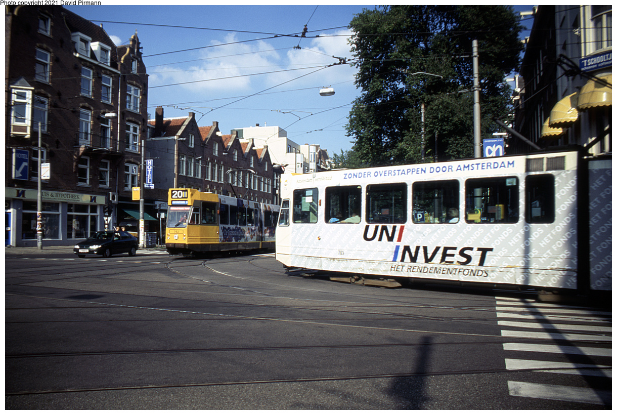 (540k, 1220x820)<br><b>Country:</b> The Netherlands<br><b>City:</b> Amsterdam<br><b>System:</b> GVB (Gemeente Vervoerbedrijf)<br><b>Location:</b> C. Huygensstraat & Overtoom<br><b>Route:</b> 20<br><b>Car:</b> Type 9G 792/789 <br><b>Photo by:</b> David Pirmann<br><b>Date:</b> 8/28/1999<br><b>Viewed (this week/total):</b> 5 / 8