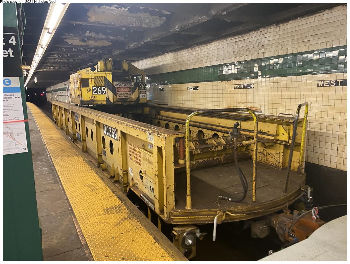(447k, 1220x920)<br><b>Country:</b> United States<br><b>City:</b> New York<br><b>System:</b> New York City Transit<br><b>Line:</b> IND 8th Avenue Line<br><b>Location:</b> West 4th Street/Washington Square<br><b>Route:</b> Work Service<br><b>Car:</b> R-113 Crane Car OC269 <br><b>Photo by:</b> Nicholas Noel<br><b>Date:</b> 11/19/2020<br><b>Viewed (this week/total):</b> 9 / 67