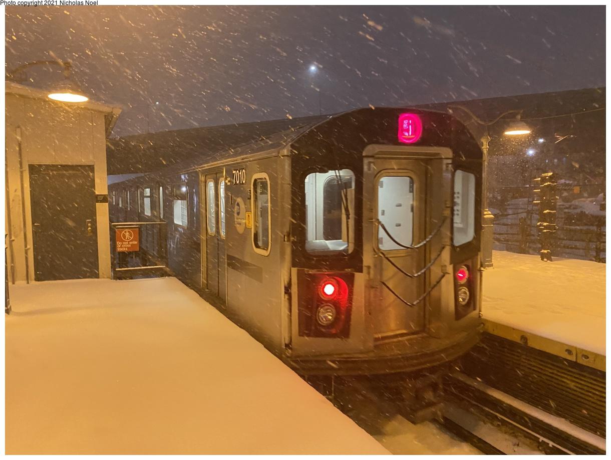 (328k, 1220x920)<br><b>Country:</b> United States<br><b>City:</b> New York<br><b>System:</b> New York City Transit<br><b>Line:</b> IRT White Plains Road Line<br><b>Location:</b> East 180th Street<br><b>Route:</b> 5<br><b>Car:</b> R-142 (Option Order, Bombardier, 2002-2003) 7010 <br><b>Photo by:</b> Nicholas Noel<br><b>Date:</b> 12/16/2020<br><b>Viewed (this week/total):</b> 14 / 112