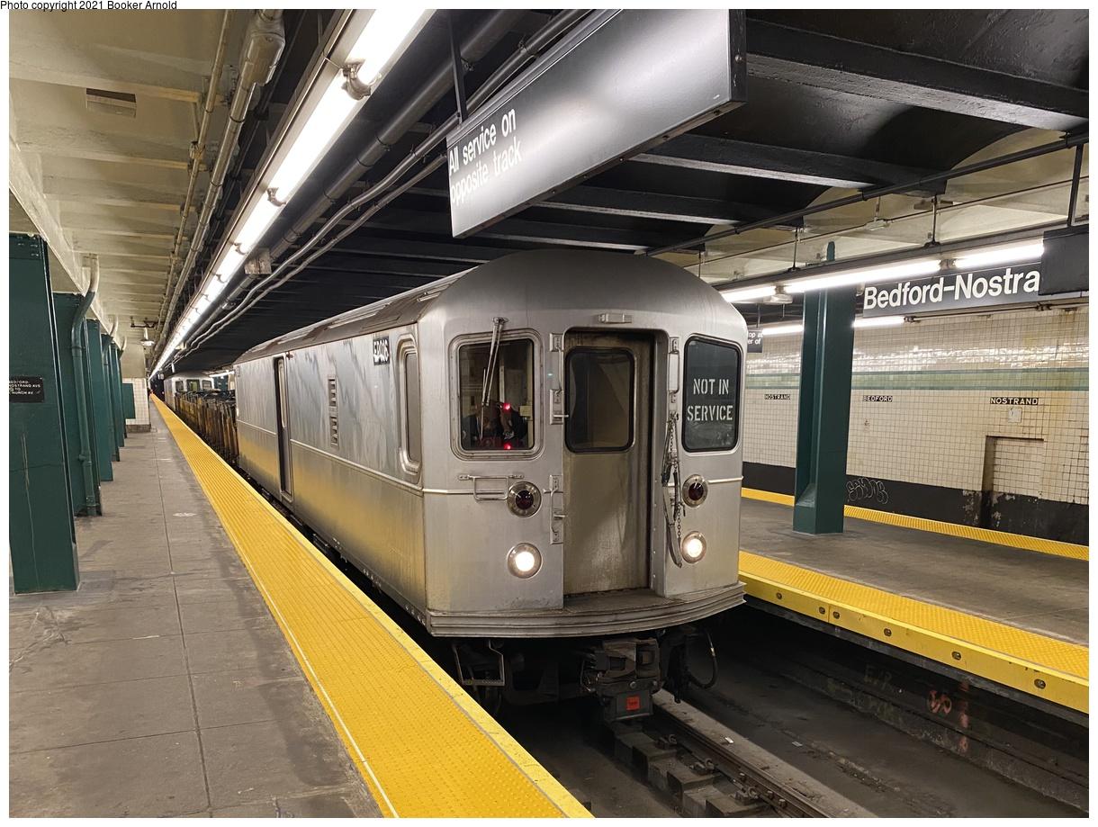 (425k, 1220x919)<br><b>Country:</b> United States<br><b>City:</b> New York<br><b>System:</b> New York City Transit<br><b>Line:</b> IND Crosstown Line<br><b>Location:</b> Bedford/Nostrand Aves.<br><b>Route:</b> Work Service<br><b>Car:</b> R-127/R-134 (Kawasaki, 1991-1996) EP016 <br><b>Photo by:</b> Booker Arnold<br><b>Date:</b> 1/10/2020<br><b>Notes:</b> Refuse Collection Train<br><b>Viewed (this week/total):</b> 54 / 515