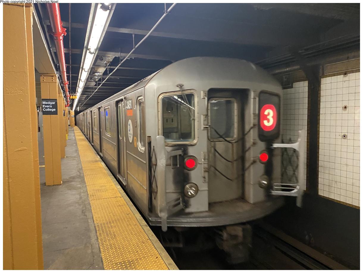 (341k, 1220x920)<br><b>Country:</b> United States<br><b>City:</b> New York<br><b>System:</b> New York City Transit<br><b>Line:</b> IRT Brooklyn Line<br><b>Location:</b> Franklin Avenue<br><b>Route:</b> 3<br><b>Car:</b> R-62 (Kawasaki, 1983-1985) 1491 <br><b>Photo by:</b> Nicholas Noel<br><b>Date:</b> 1/27/2021<br><b>Viewed (this week/total):</b> 2 / 258
