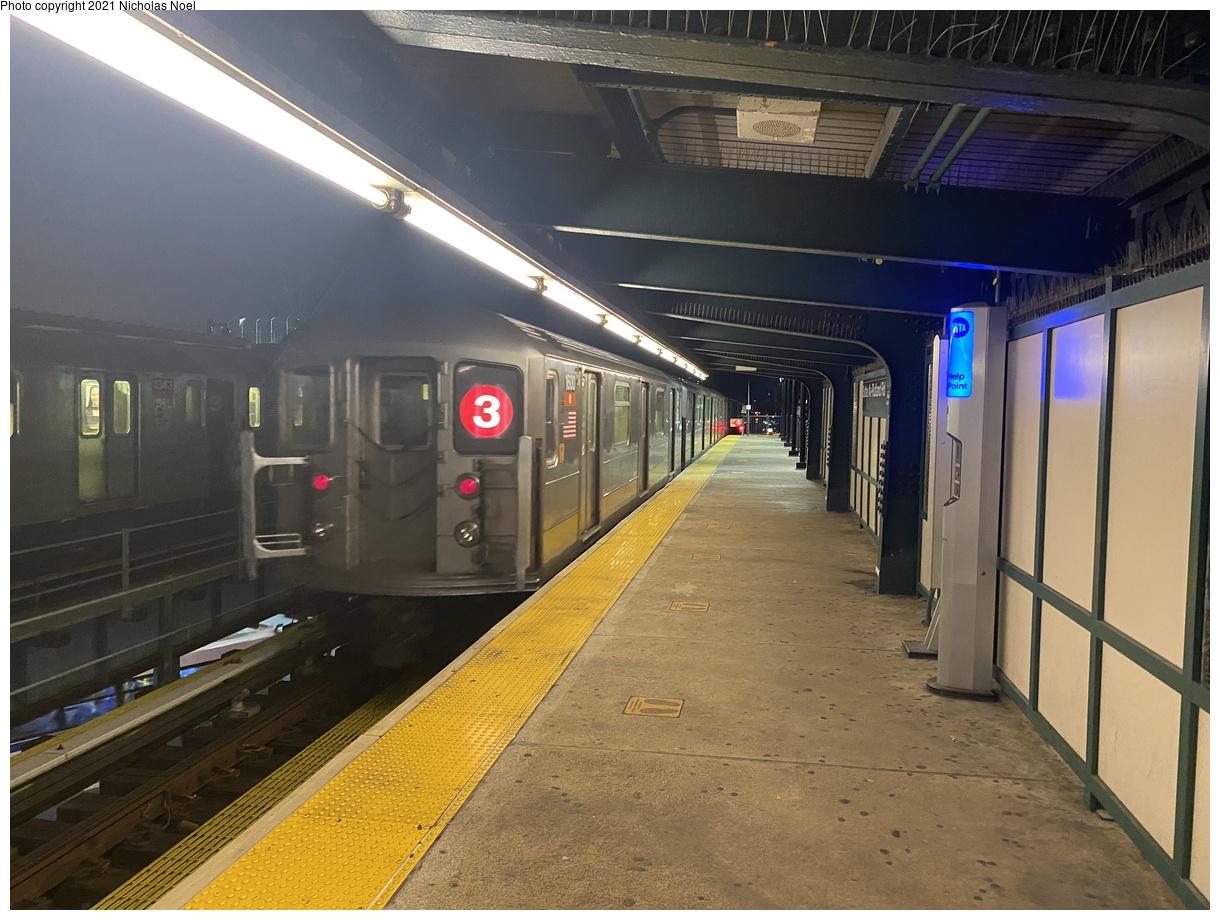 (387k, 1220x920)<br><b>Country:</b> United States<br><b>City:</b> New York<br><b>System:</b> New York City Transit<br><b>Line:</b> IRT Brooklyn Line<br><b>Location:</b> Sutter Avenue/Rutland Road<br><b>Route:</b> 3<br><b>Car:</b> R-62 (Kawasaki, 1983-1985) 1600 <br><b>Photo by:</b> Nicholas Noel<br><b>Date:</b> 1/27/2021<br><b>Viewed (this week/total):</b> 38 / 130