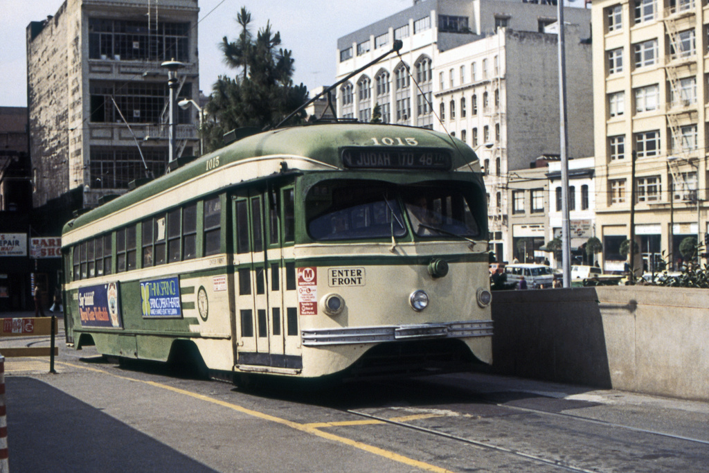 (440k, 1044x705)<br><b>Country:</b> United States<br><b>City:</b> San Francisco/Bay Area, CA<br><b>System:</b> SF MUNI<br><b>Location:</b> Transbay Terminal <br><b>Car:</b> SF MUNI PCC Torpedo Double-End (St. Louis Car Co., 1948)  1015 <br><b>Collection of:</b> David Pirmann<br><b>Date:</b> 3/1974<br><b>Viewed (this week/total):</b> 1 / 13809