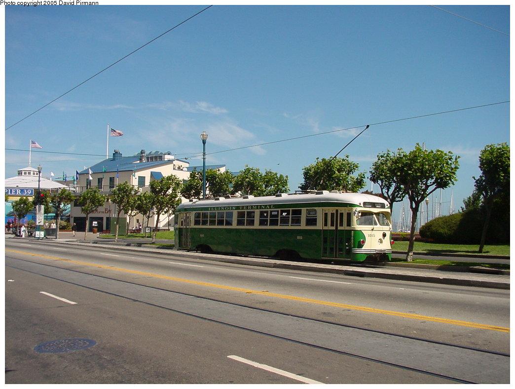 (170k, 1044x788)<br><b>Country:</b> United States<br><b>City:</b> San Francisco/Bay Area, CA<br><b>System:</b> SF MUNI<br><b>Location:</b> Embarcadero/Pier 39 <br><b>Route:</b> F-Market<br><b>Car:</b> SF MUNI PCC Torpedo Double-End (St. Louis Car Co., 1948)  1015 <br><b>Photo by:</b> David Pirmann<br><b>Date:</b> 7/5/2002<br><b>Viewed (this week/total):</b> 0 / 1160