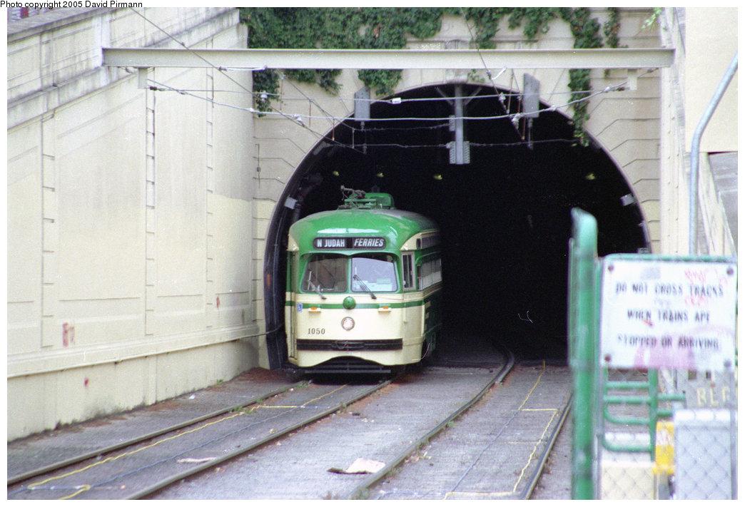 (213k, 1044x711)<br><b>Country:</b> United States<br><b>City:</b> San Francisco/Bay Area, CA<br><b>System:</b> SF MUNI<br><b>Line:</b> MUNI Metro (N-Judah)<br><b>Location:</b> Sunset Tunnel East Portal<br><b>Route:</b> Fan Trip<br><b>Car:</b> SF MUNI PCC (Ex-SEPTA) (St. Louis Car Co., 1947-1948) 1050 <br><b>Photo by:</b> David Pirmann<br><b>Date:</b> 7/4/1996<br><b>Viewed (this week/total):</b> 1 / 2759