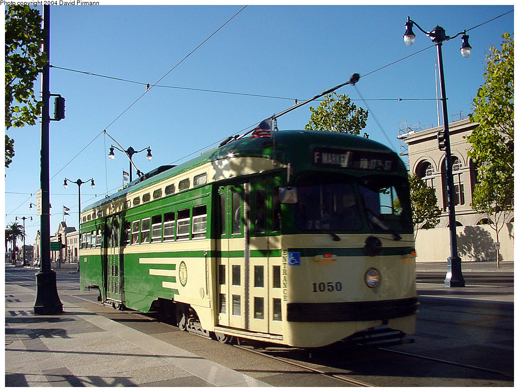 (306k, 1044x788)<br><b>Country:</b> United States<br><b>City:</b> San Francisco/Bay Area, CA<br><b>System:</b> SF MUNI<br><b>Location:</b> Embarcadero/Ferry Building <br><b>Route:</b> F-Market<br><b>Car:</b> SF MUNI PCC (Ex-SEPTA) (St. Louis Car Co., 1947-1948)  1050 <br><b>Photo by:</b> David Pirmann<br><b>Date:</b> 7/6/2002<br><b>Viewed (this week/total):</b> 3 / 3222
