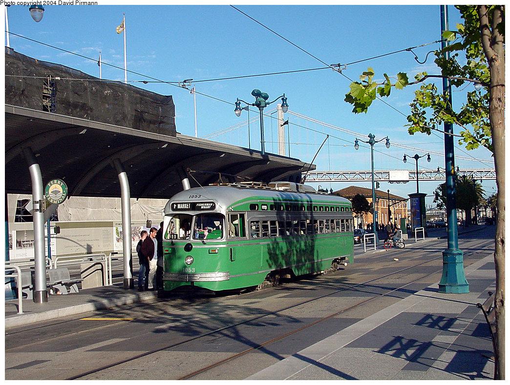 (328k, 1044x788)<br><b>Country:</b> United States<br><b>City:</b> San Francisco/Bay Area, CA<br><b>System:</b> SF MUNI<br><b>Location:</b> Embarcadero/Ferry Building <br><b>Route:</b> F-Market<br><b>Car:</b> SF MUNI PCC (Ex-SEPTA) (St. Louis Car Co., 1947-1948)  1053 <br><b>Photo by:</b> David Pirmann<br><b>Date:</b> 7/6/2002<br><b>Viewed (this week/total):</b> 4 / 1773