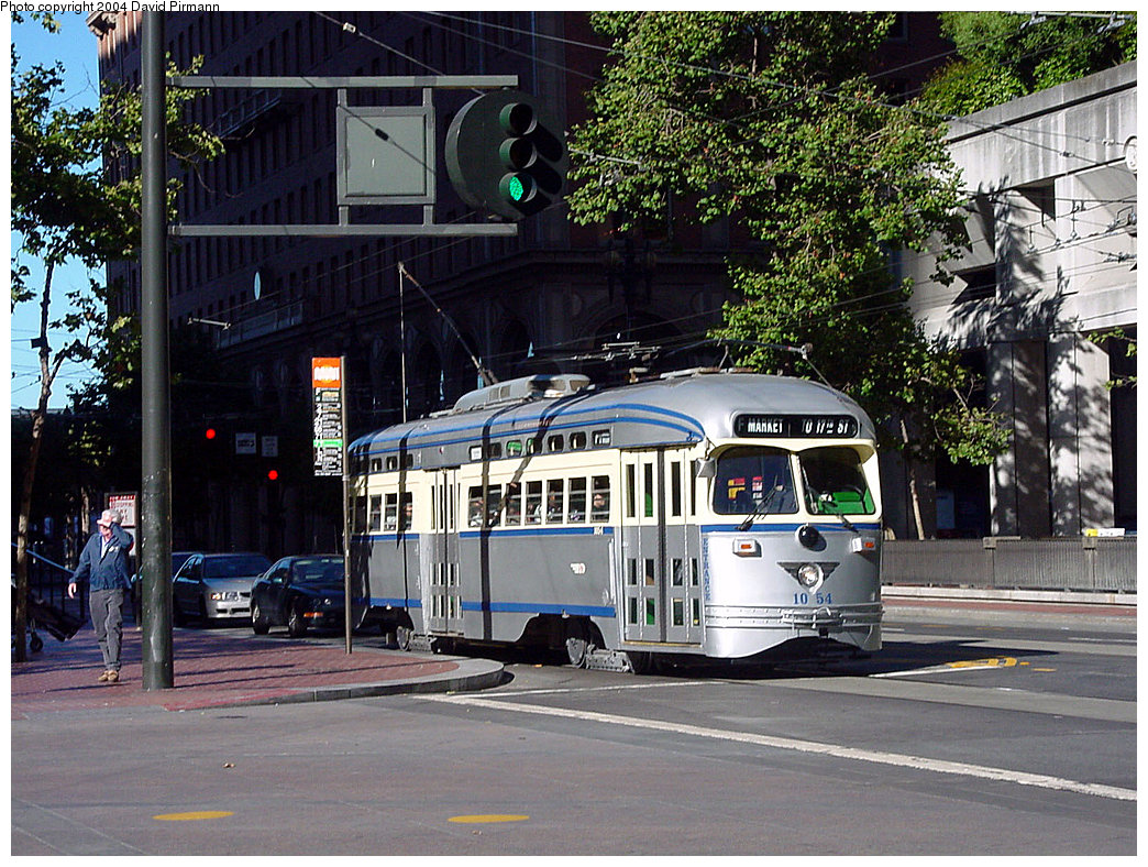 (316k, 1044x788)<br><b>Country:</b> United States<br><b>City:</b> San Francisco/Bay Area, CA<br><b>System:</b> SF MUNI<br><b>Location:</b> Market/Drumm/California <br><b>Route:</b> F-Market<br><b>Car:</b> SF MUNI PCC (Ex-SEPTA) (St. Louis Car Co., 1947-1948)  1054 <br><b>Photo by:</b> David Pirmann<br><b>Date:</b> 7/6/2002<br><b>Viewed (this week/total):</b> 2 / 3611
