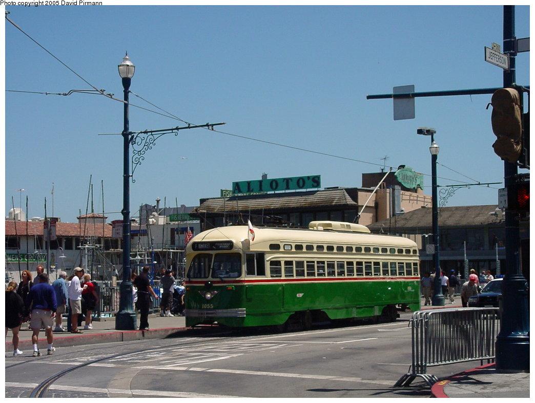 (162k, 1044x788)<br><b>Country:</b> United States<br><b>City:</b> San Francisco/Bay Area, CA<br><b>System:</b> SF MUNI<br><b>Location:</b> Jefferson/Jones <br><b>Route:</b> F-Market<br><b>Car:</b> SF MUNI PCC (Ex-SEPTA) (St. Louis Car Co., 1947-1948)  1055 <br><b>Photo by:</b> David Pirmann<br><b>Date:</b> 7/3/2002<br><b>Viewed (this week/total):</b> 4 / 2865