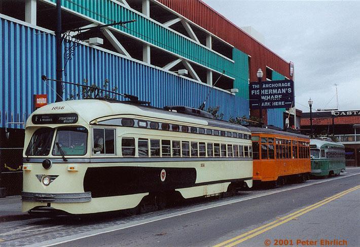 (156k, 710x487)<br><b>Country:</b> United States<br><b>City:</b> San Francisco/Bay Area, CA<br><b>System:</b> SF MUNI<br><b>Location:</b> Jones/Beach <br><b>Route:</b> F-Market<br><b>Car:</b> SF MUNI PCC (Ex-SEPTA) (St. Louis Car Co., 1947-1948)  1056 <br><b>Photo by:</b> Peter Ehrlich<br><b>Date:</b> 5/2000<br><b>Viewed (this week/total):</b> 0 / 3253