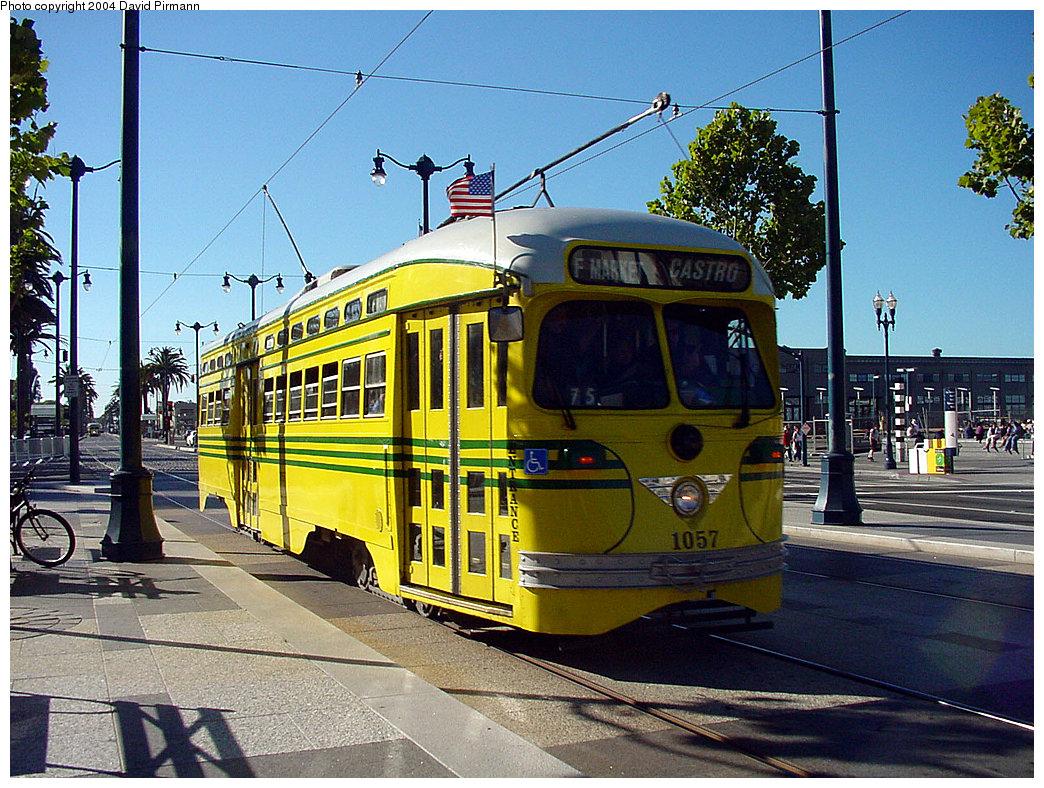 (325k, 1044x788)<br><b>Country:</b> United States<br><b>City:</b> San Francisco/Bay Area, CA<br><b>System:</b> SF MUNI<br><b>Location:</b> Embarcadero/Ferry Building <br><b>Route:</b> F-Market<br><b>Car:</b> SF MUNI PCC (Ex-SEPTA) (St. Louis Car Co., 1947-1948)  1057 <br><b>Photo by:</b> David Pirmann<br><b>Date:</b> 7/6/2002<br><b>Viewed (this week/total):</b> 1 / 1494