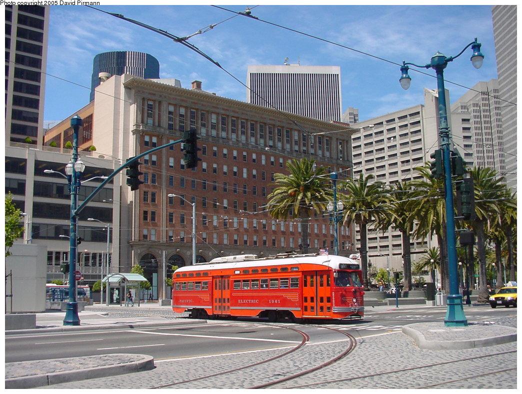 (238k, 1044x788)<br><b>Country:</b> United States<br><b>City:</b> San Francisco/Bay Area, CA<br><b>System:</b> SF MUNI<br><b>Location:</b> Don Chee Way/Justin Herman Plaza <br><b>Route:</b> F-Market<br><b>Car:</b> SF MUNI PCC (Ex-SEPTA) (St. Louis Car Co., 1947-1948)  1061 <br><b>Photo by:</b> David Pirmann<br><b>Date:</b> 7/5/2002<br><b>Viewed (this week/total):</b> 0 / 1334