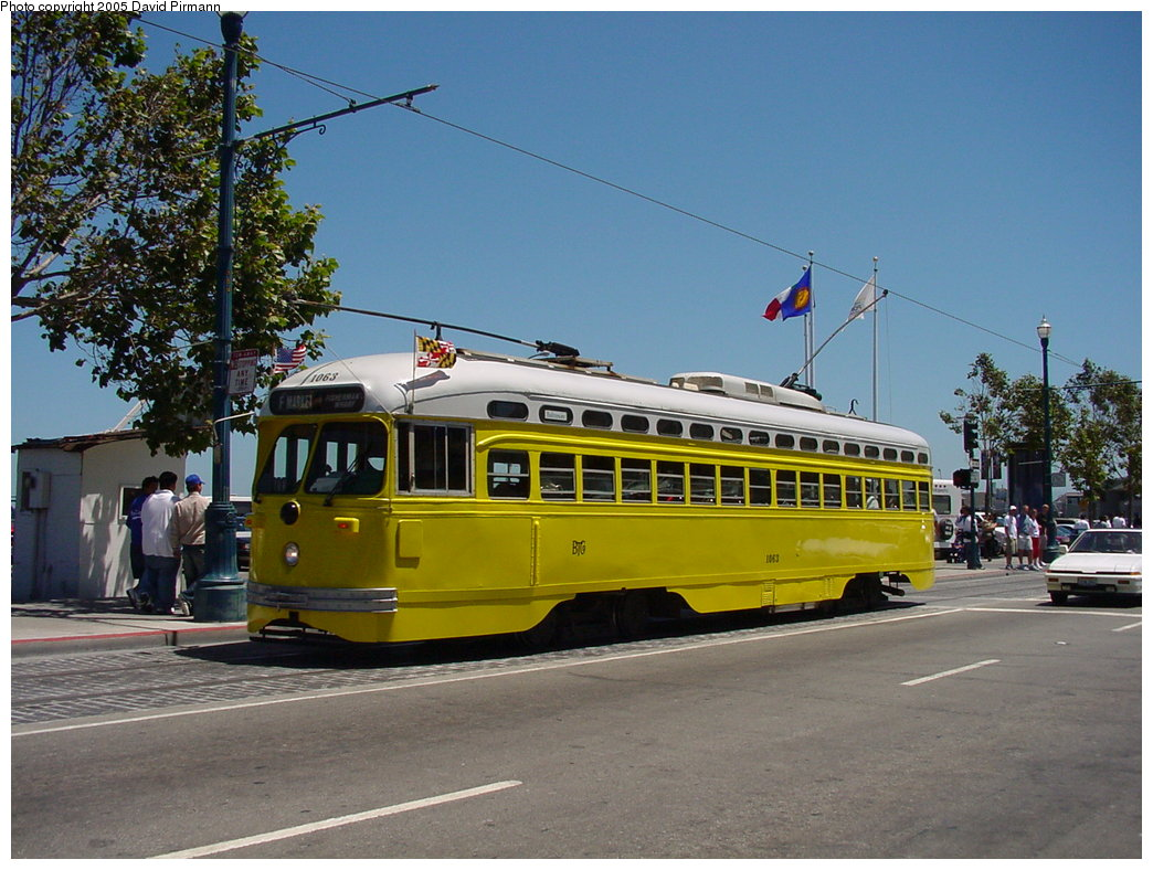 (189k, 1044x788)<br><b>Country:</b> United States<br><b>City:</b> San Francisco/Bay Area, CA<br><b>System:</b> SF MUNI<br><b>Location:</b> Jefferson/Fishermans Wharf <br><b>Route:</b> F-Market<br><b>Car:</b> SF MUNI PCC (Ex-SEPTA) (St. Louis Car Co., 1947-1948)  1063 <br><b>Photo by:</b> David Pirmann<br><b>Date:</b> 7/3/2002<br><b>Viewed (this week/total):</b> 2 / 2992