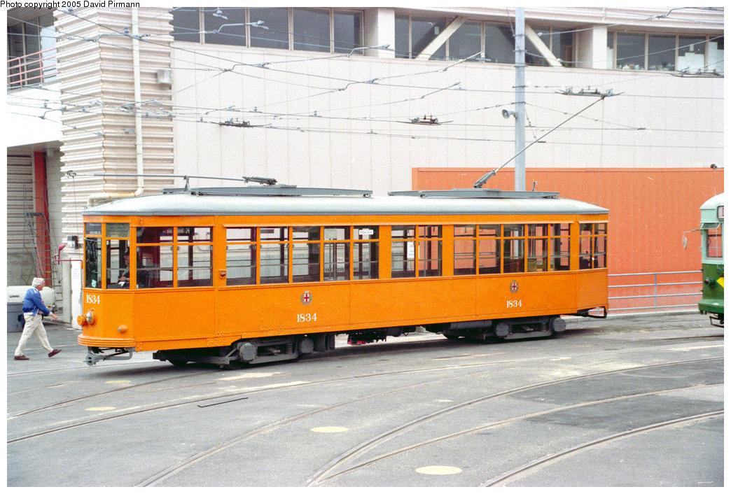 (229k, 1044x706)<br><b>Country:</b> United States<br><b>City:</b> San Francisco/Bay Area, CA<br><b>System:</b> SF MUNI<br><b>Location:</b> Geneva Yard <br><b>Route:</b> F-Market<br><b>Car:</b> Milan Milano/Peter Witt (1927-1930)  1834 <br><b>Photo by:</b> David Pirmann<br><b>Date:</b> 7/7/1996<br><b>Viewed (this week/total):</b> 4 / 1760