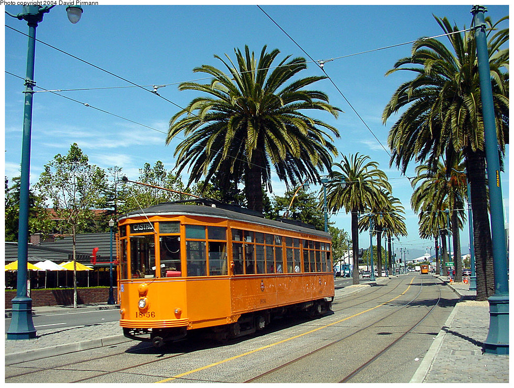 (393k, 1044x788)<br><b>Country:</b> United States<br><b>City:</b> San Francisco/Bay Area, CA<br><b>System:</b> SF MUNI<br><b>Location:</b> Embarcadero/Sansome <br><b>Route:</b> F-Market<br><b>Car:</b> Milan Milano/Peter Witt (1927-1930)  1856 <br><b>Photo by:</b> David Pirmann<br><b>Date:</b> 7/5/2002<br><b>Viewed (this week/total):</b> 2 / 1796