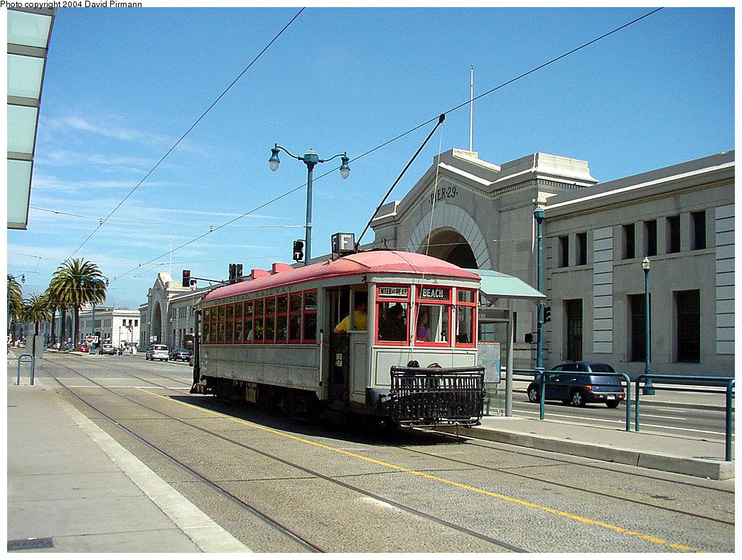 (291k, 1044x788)<br><b>Country:</b> United States<br><b>City:</b> San Francisco/Bay Area, CA<br><b>System:</b> SF MUNI<br><b>Location:</b> Embarcadero/Pier 29 <br><b>Route:</b> F-Market<br><b>Car:</b> SF MUNI A-Type (1912)  1 <br><b>Photo by:</b> David Pirmann<br><b>Date:</b> 7/5/2002<br><b>Viewed (this week/total):</b> 1 / 3461