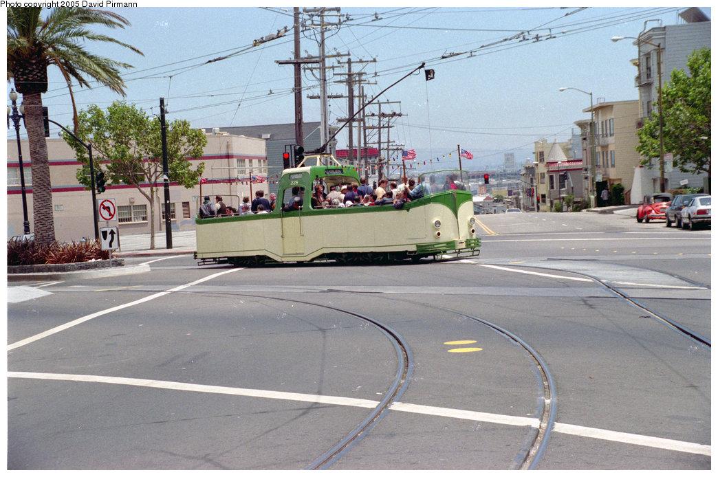 (241k, 1044x694)<br><b>Country:</b> United States<br><b>City:</b> San Francisco/Bay Area, CA<br><b>System:</b> SF MUNI<br><b>Location:</b> Market/Duboce <br><b>Route:</b> F-Market<br><b>Car:</b> Blackpool Boat (English Electric, 1934)  228 <br><b>Photo by:</b> David Pirmann<br><b>Date:</b> 7/7/1996<br><b>Notes:</b> Blackpool boat tram<br><b>Viewed (this week/total):</b> 1 / 2676
