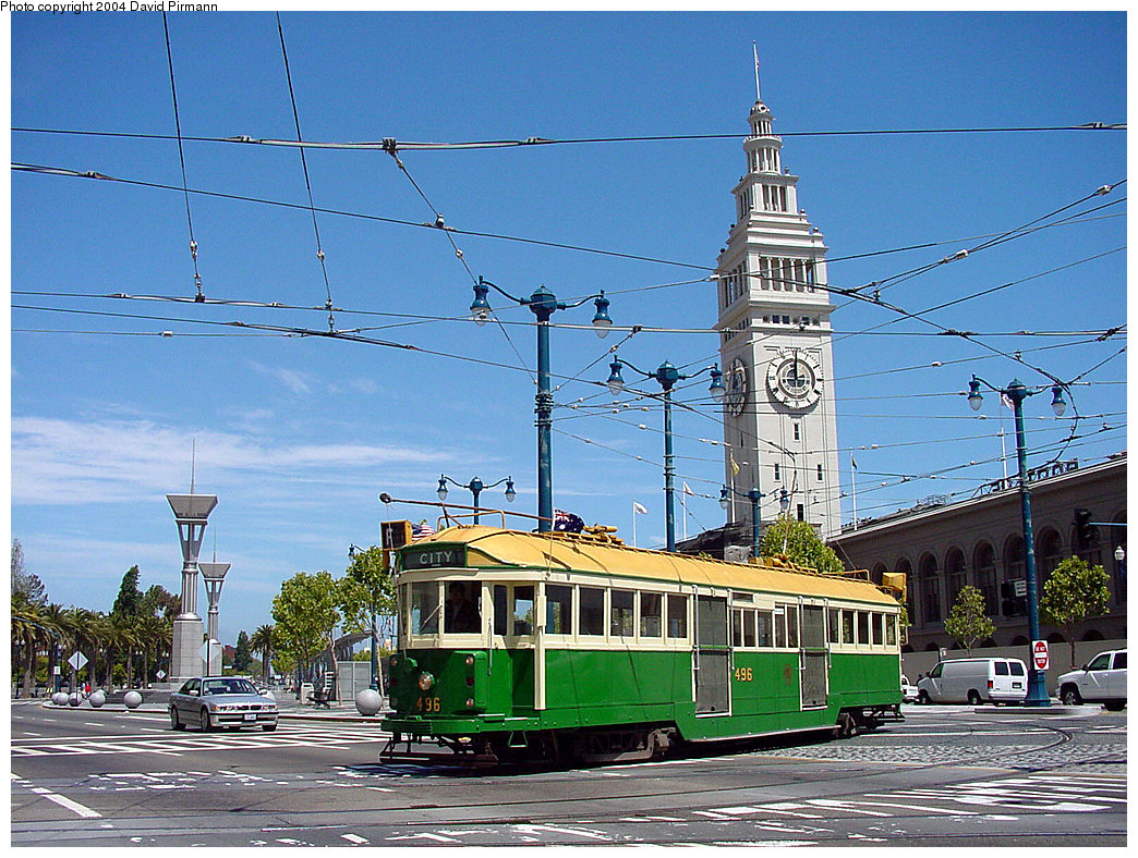 (317k, 1044x788)<br><b>Country:</b> United States<br><b>City:</b> San Francisco/Bay Area, CA<br><b>System:</b> SF MUNI<br><b>Location:</b> Don Chee Way/Justin Herman Plaza <br><b>Route:</b> F-Market<br><b>Car:</b> Melbourne W2 Class (1923-1931)  496 <br><b>Photo by:</b> David Pirmann<br><b>Date:</b> 7/5/2002<br><b>Viewed (this week/total):</b> 0 / 2815