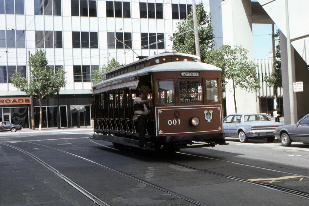 (359k, 1024x683)<br><b>Country:</b> United States<br><b>City:</b> San Francisco/Bay Area, CA<br><b>System:</b> SF MUNI<br><b>Location:</b> Market/11th Wye <br><b>Car:</b> SF MUNI Veracruz, Mexico Tram 001 <br><b>Collection of:</b> David Pirmann<br><b>Date:</b> 8/25/1985<br><b>Viewed (this week/total):</b> 1 / 1204