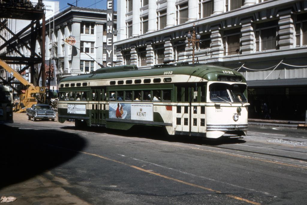 (386k, 1044x702)<br><b>Country:</b> United States<br><b>City:</b> San Francisco/Bay Area, CA<br><b>System:</b> SF MUNI<br><b>Location:</b> Market/Mason/Turk <br><b>Route:</b> N-Judah<br><b>Car:</b> SF MUNI PCC Baby Ten (St. Louis Car Co, 1951)  1032 <br><b>Collection of:</b> David Pirmann<br><b>Date:</b> 7/11/1970<br><b>Viewed (this week/total):</b> 3 / 1549