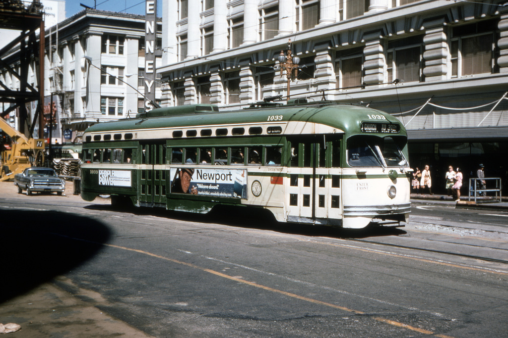 (423k, 1044x706)<br><b>Country:</b> United States<br><b>City:</b> San Francisco/Bay Area, CA<br><b>System:</b> SF MUNI<br><b>Location:</b> Market/Mason/Turk <br><b>Route:</b> J-Church<br><b>Car:</b> SF MUNI PCC Baby Ten (St. Louis Car Co, 1951)  1033 <br><b>Collection of:</b> David Pirmann<br><b>Date:</b> 7/11/1970<br><b>Viewed (this week/total):</b> 1 / 1843