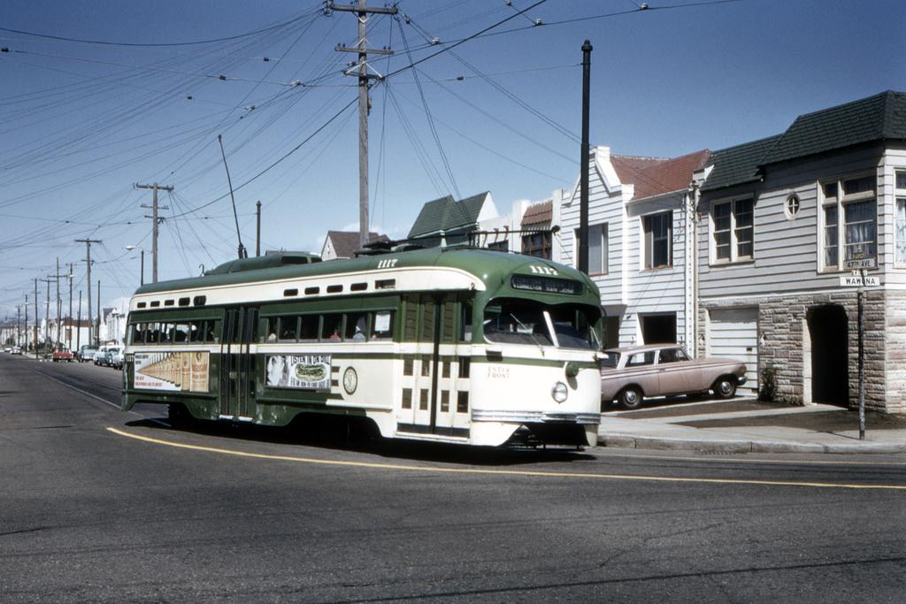 (403k, 1044x707)<br><b>Country:</b> United States<br><b>City:</b> San Francisco/Bay Area, CA<br><b>System:</b> SF MUNI<br><b>Line:</b> MUNI Metro (L-Taraval)<br><b>Location:</b> 47th Ave/Wawona <br><b>Route:</b> L-Taraval<br><b>Car:</b> SF MUNI PCC St. Louis (St. Louis Car Co, 1946)  1117 <br><b>Collection of:</b> David Pirmann<br><b>Date:</b> 9/18/1966<br><b>Viewed (this week/total):</b> 7 / 2079