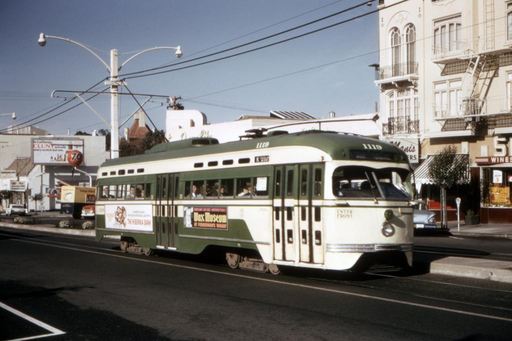 (342k, 1044x707)<br><b>Country:</b> United States<br><b>City:</b> San Francisco/Bay Area, CA<br><b>System:</b> SF MUNI<br><b>Line:</b> MUNI Metro (K/M)<br><b>Location:</b> West Portal/Ulloa <br><b>Route:</b> K-Ingleside<br><b>Car:</b> SF MUNI PCC St. Louis (St. Louis Car Co, 1946)  1119 <br><b>Collection of:</b> David Pirmann<br><b>Date:</b> 9/20/1966<br><b>Viewed (this week/total):</b> 3 / 2040
