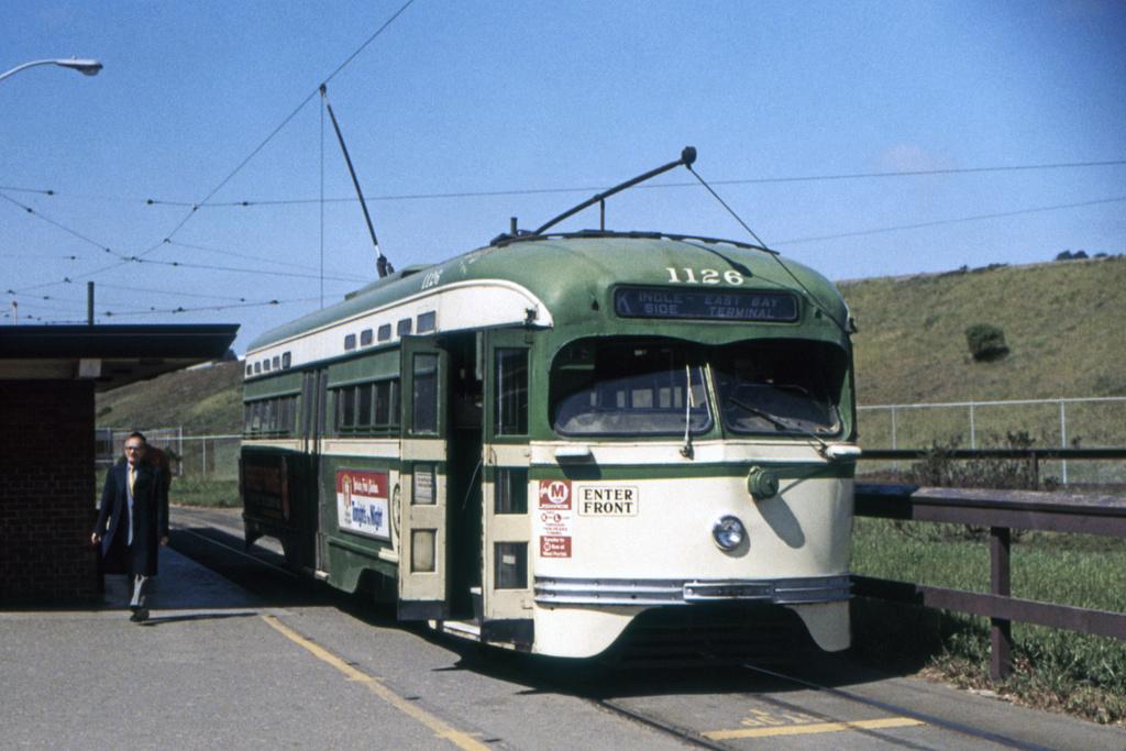 (343k, 1044x705)<br><b>Country:</b> United States<br><b>City:</b> San Francisco/Bay Area, CA<br><b>System:</b> SF MUNI<br><b>Line:</b> MUNI Metro (K/M)<br><b>Location:</b> Phelan Loop <br><b>Route:</b> K-Ingleside<br><b>Car:</b> SF MUNI PCC St. Louis (St. Louis Car Co, 1946)  1126 <br><b>Collection of:</b> David Pirmann<br><b>Viewed (this week/total):</b> 5 / 5837