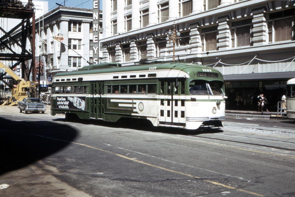 (475k, 1044x714)<br><b>Country:</b> United States<br><b>City:</b> San Francisco/Bay Area, CA<br><b>System:</b> SF MUNI<br><b>Location:</b> Market/Mason/Turk <br><b>Route:</b> N-Judah<br><b>Car:</b> SF MUNI PCC St. Louis (St. Louis Car Co, 1946)  1127 <br><b>Collection of:</b> David Pirmann<br><b>Date:</b> 7/11/1970<br><b>Viewed (this week/total):</b> 1 / 3147