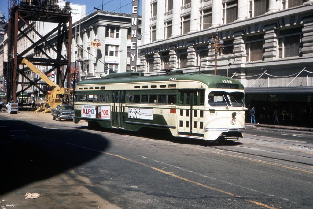 (419k, 1044x703)<br><b>Country:</b> United States<br><b>City:</b> San Francisco/Bay Area, CA<br><b>System:</b> SF MUNI<br><b>Location:</b> Market/Mason/Turk <br><b>Route:</b> N-Judah<br><b>Car:</b> SF MUNI PCC St. Louis (St. Louis Car Co, 1946)  1148 <br><b>Collection of:</b> David Pirmann<br><b>Date:</b> 7/11/1970<br><b>Viewed (this week/total):</b> 0 / 2491