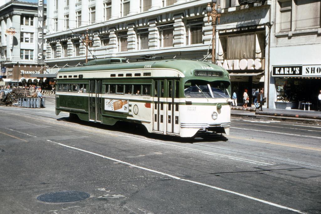 (416k, 1044x692)<br><b>Country:</b> United States<br><b>City:</b> San Francisco/Bay Area, CA<br><b>System:</b> SF MUNI<br><b>Location:</b> Market/Mason/Turk <br><b>Route:</b> N-Judah<br><b>Car:</b> SF MUNI PCC St. Louis (St. Louis Car Co, 1946)  1164 <br><b>Collection of:</b> David Pirmann<br><b>Date:</b> 7/11/1970<br><b>Viewed (this week/total):</b> 1 / 1313