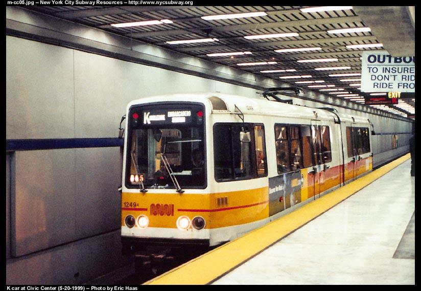 (113k, 824x569)<br><b>Country:</b> United States<br><b>City:</b> San Francisco/Bay Area, CA<br><b>System:</b> SF MUNI<br><b>Line:</b> MUNI Metro (Metro Tunnel)<br><b>Location:</b> <b><u>Civic Center</u></b> <br><b>Route:</b> K-Ingleside<br><b>Car:</b> MUNI Standard LRV (Boeing-Vertol, 1976-78) 1249 <br><b>Photo by:</b> Eric Haas<br><b>Date:</b> 5/20/1999<br><b>Viewed (this week/total):</b> 3 / 5176