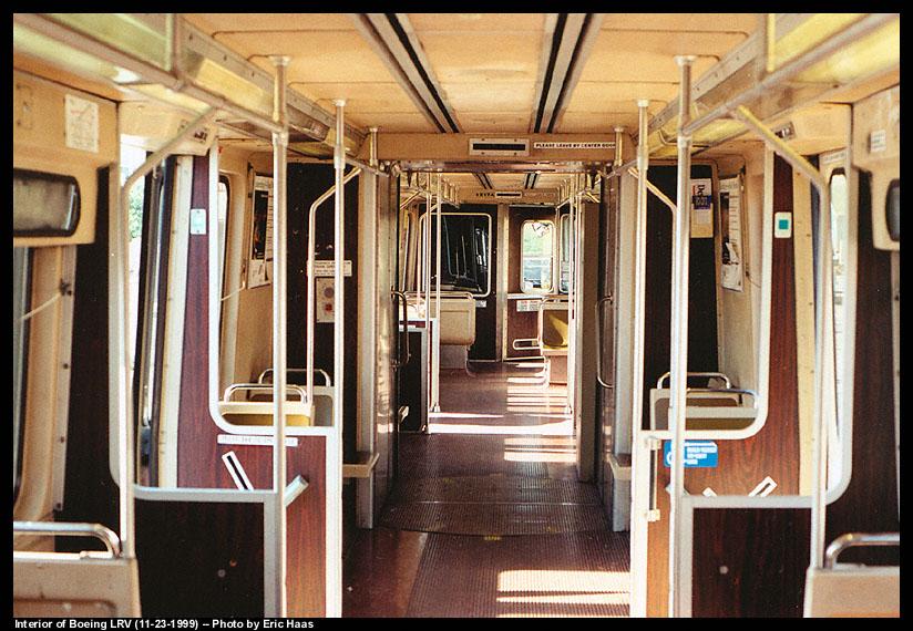 (161k, 824x570)<br><b>Country:</b> United States<br><b>City:</b> San Francisco/Bay Area, CA<br><b>System:</b> SF MUNI<br><b>Line:</b> MUNI Metro (Embarcadero)<br><b>Photo by:</b> Eric Haas<br><b>Date:</b> 11/23/1999<br><b>Notes:</b> Muni Boeing LRV interior<br><b>Viewed (this week/total):</b> 4 / 5492