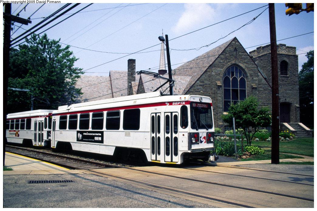 (244k, 1044x696)<br><b>Country:</b> United States<br><b>City:</b> Philadelphia, PA<br><b>System:</b> SEPTA (or Predecessor)<br><b>Line:</b> Rt. 101-Media<br><b>Location:</b> School Lane <br><b>Car:</b> SEPTA K Double-ended (Kawasaki, 1981) 103 <br><b>Photo by:</b> David Pirmann<br><b>Date:</b> 7/3/1999<br><b>Notes:</b> Two car train on ERA Fantrip<br><b>Viewed (this week/total):</b> 2 / 3179