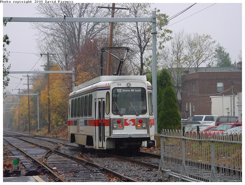 (115k, 820x620)<br><b>Country:</b> United States<br><b>City:</b> Philadelphia, PA<br><b>System:</b> SEPTA (or Predecessor)<br><b>Line:</b> Rt. 101-Media/102-Sharon Hill<br><b>Location:</b> Drexel Hill Junction <br><b>Car:</b> SEPTA K Double-ended (Kawasaki, 1981) 124 <br><b>Photo by:</b> David Pirmann<br><b>Date:</b> 1/21/2001<br><b>Viewed (this week/total):</b> 0 / 2535