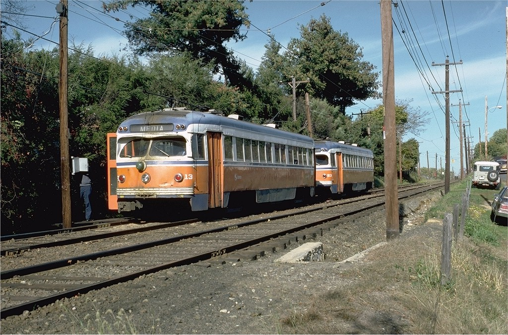 (311k, 1024x674)<br><b>Country:</b> United States<br><b>City:</b> Philadelphia, PA<br><b>System:</b> SEPTA (or Predecessor)<br><b>Line:</b> Rt. 101-Media<br><b>Location:</b> Woodland Avenue <br><b>Car:</b> PSTC Streamliner (St. Louis Car Co., 1949)  13 <br><b>Photo by:</b> Doug Grotjahn<br><b>Collection of:</b> Joe Testagrose<br><b>Date:</b> 10/20/1981<br><b>Viewed (this week/total):</b> 1 / 3459