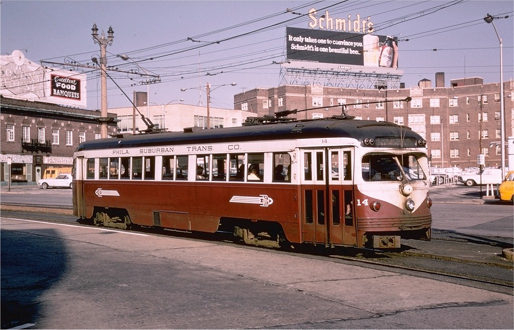 (230k, 1024x658)<br><b>Country:</b> United States<br><b>City:</b> Philadelphia, PA<br><b>System:</b> SEPTA (or Predecessor)<br><b>Line:</b> Rt. 101-Media/102-Sharon Hill<br><b>Location:</b> 69th Street <br><b>Car:</b> PSTC Streamliner (St. Louis Car Co., 1949)  14 <br><b>Photo by:</b> Joe Testagrose<br><b>Date:</b> 4/30/1968<br><b>Viewed (this week/total):</b> 2 / 14396