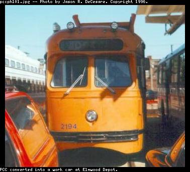 (28k, 378x343)<br><b>Country:</b> United States<br><b>City:</b> Philadelphia, PA<br><b>System:</b> SEPTA (or Predecessor)<br><b>Location:</b> Elmwood Depot <br><b>Car:</b> PTC/SEPTA Postwar All-electric PCC (St.Louis, 1948)  2194 <br><b>Photo by:</b> Jason R. DeCesare<br><b>Notes:</b> PCC converted into a work car at Elmwood Depot<br><b>Viewed (this week/total):</b> 0 / 1490